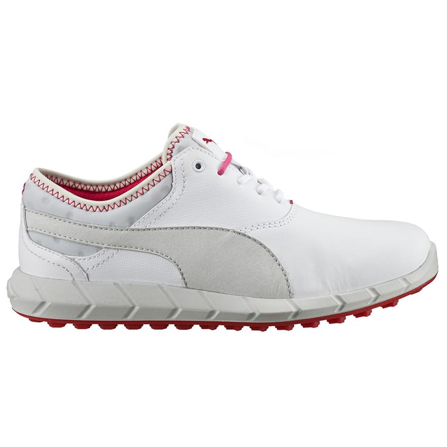 Puma Ignite Ladies Golf Shoes White/Glacier Gray/Rose Red   Scottsdale Golf