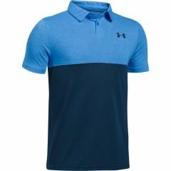 under armour golf shirts. under armour threadborne blocked junior polo shirt mako blue/academy golf shirts
