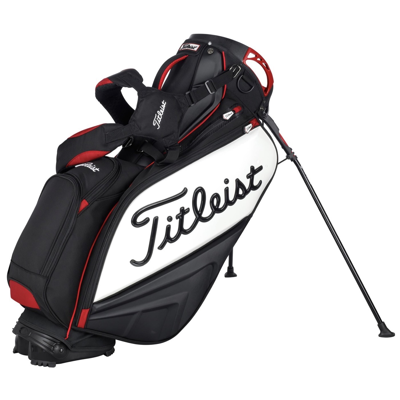 titleist tour staff golf stand bag black white red. Black Bedroom Furniture Sets. Home Design Ideas